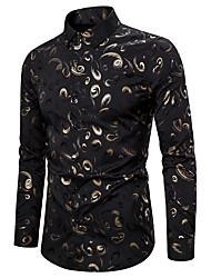 cheap -Men's Party Going out Boho Shirt - Floral Print Black