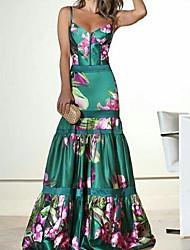 cheap -Women's Maxi Green Dress Bodycon Floral Deep U S M