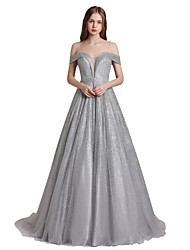 cheap -Ball Gown Spaghetti Strap Sweep / Brush Train Tulle Sparkle / Gray Prom / Quinceanera Dress with Sequin / Crystals 2020