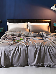 cheap -Duvet Cover Sets 4 Piece Polyester / Viscose Solid Colored Light gray Printed Simple