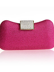cheap -Women's Bags Synthetic Evening Bag Crystals Solid Color Wedding Bags Party Event / Party Black Fuchsia Champagne Gold