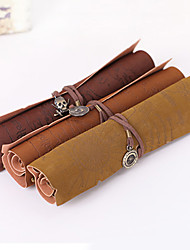 cheap -Retro Pirate Treasure Map Roll Up PU Leather Pencil Case Pen Bags Make Up Holder Gift