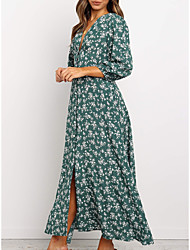cheap -Women's Maxi Green Navy Blue Dress A Line Floral Deep V S M