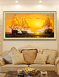 cheap -Framed Art Print Elegant Design Antique Golden Wood Framed Canvas Sailboat Seascape Smooth Sailing PS Oil Painting Wall Art