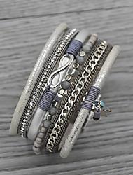 cheap -Women's Charm Bracelet Bead Bracelet Leather Bracelet Chunky Vintage Theme Infinity Stylish Classic Tassel Basic Fashion Leather Bracelet Jewelry khaki / Silver / Black For Sport Gift Date Birthday