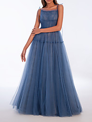cheap -A-Line Sexy Blue Prom Formal Evening Dress Spaghetti Strap Sleeveless Floor Length Tulle with Pleats 2020
