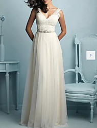 cheap -A-Line Wedding Dresses V Neck Sweep / Brush Train Tulle Sleeveless Casual Plus Size with Sashes / Ribbons Draping Appliques 2020