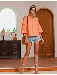 cheap -Women's Solid Colored Blouse Daily Off Shoulder Blushing Pink