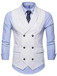 cheap -Men's Vest, Polka Dot Peter Pan Collar Cotton Black / White / Navy Blue