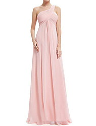 cheap -A-Line One Shoulder Floor Length Chiffon Bridesmaid Dress with Tier