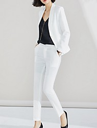 cheap -Women's Suits, Solid Colored Notch Lapel Polyester White