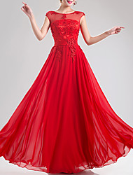 cheap -A-Line Empire Red Engagement Formal Evening Dress Jewel Neck Sleeveless Floor Length Chiffon with Appliques 2020