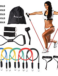 cheap -KYLINSPORT Resistance Band Set 12 pcs 5 Stackable Exercise Bands Door Anchor Legs Ankle Straps Sports Latex Home Workout Pilates Fitness Strength Training Muscular Bodyweight Training Muscle Building