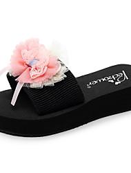 cheap -Women's Slippers & Flip-Flops Flat Heel Open Toe Bowknot / Satin Flower Polyester Casual / Minimalism Walking Shoes Summer Pink