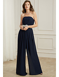 cheap -Jumpsuits Strapless Floor Length Chiffon Sexy / Blue Formal Evening / Wedding Guest Dress with Sash / Ribbon / Pleats 2020