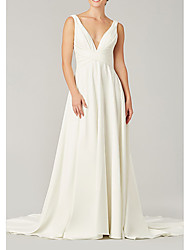 cheap -A-Line Wedding Dresses V Neck Sweep / Brush Train Chiffon Sleeveless Country Plus Size with Draping 2021