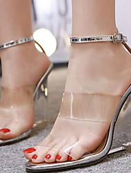 cheap -Women's Sandals Transparent Shoes Wedge Heel Round Toe Mesh Spring & Summer Champagne / Silver / Black