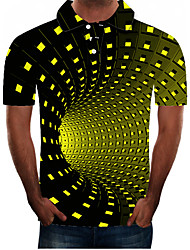 cheap -Men's Plus Size 3D Graphic Slim Polo Street chic Exaggerated Daily Going out Shirt Collar Green / Short Sleeve