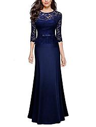 cheap -Sheath / Column Jewel Neck Floor Length Polyester Peplum / Blue Wedding Guest / Formal Evening Dress with Sash / Ribbon 2020