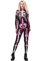 cheap -Zentai Suits Catsuit Skin Suit Skeleton / Skull Adults' Cosplay Costumes Ultra Sexy Men's Women's Black / Fuchsia / Green Skull Halloween Carnival Masquerade / Leotard / Onesie