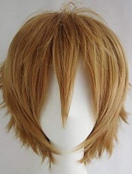 cheap -Synthetic Wig Loose Curl Halloween Asymmetrical Wig Short Blonde Synthetic Hair 10 inch Men's Best Quality Blonde