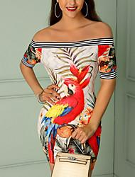 cheap -Women's Red Dress Sheath Animal Off Shoulder S M Slim