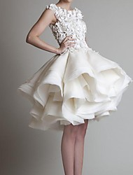 cheap -A-Line Wedding Dresses Jewel Neck Asymmetrical Polyester Sleeveless Country Little White Dress Plus Size with Appliques Cascading Ruffles 2021