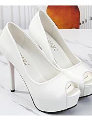 cheap -Women's Heels Stiletto Heel Peep Toe Daily PU White Black Pink
