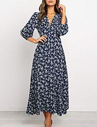 cheap -Women's Maxi Green Navy Blue Dress Maxi Dress Vacation Beach A Line Floral Deep V Floral S M
