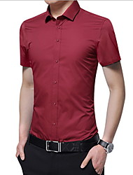 cheap -Men's Solid Colored Slim Shirt Daily Wine / White / Black / Blushing Pink / Royal Blue / Light Blue / Short Sleeve