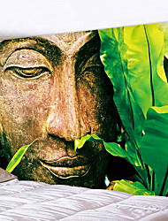 cheap -Buddha Statue Next To The Green Leaves Prainted Wall Hanging Tapestry Mandala Bohemia 5 Sizes Travel Sleeping Pad