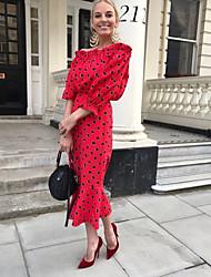 cheap -Women's Vacation Sheath Dress - Polka Dot Off Shoulder Spring Red S M L XL