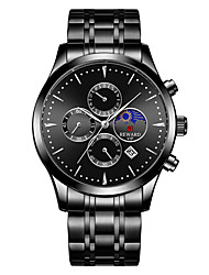cheap -Men's Dress Watch Quartz Stainless Steel 30 m Calendar / date / day Moon Phase Tachymeter Analog Fashion Cool - Gold Blue White One Year Battery Life