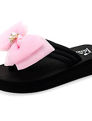 cheap -Women's Slippers & Flip-Flops Flat Heel Open Toe Bowknot / Sparkling Glitter Polyester Casual / Sweet Walking Shoes Summer Black / Fuchsia / Pink