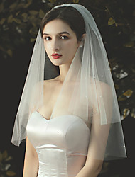 cheap -Two-tier Pearl Trim Edge / Sweet Wedding Veil Elbow Veils with Faux Pearl / Solid 27.56 in (70cm) Tulle / Classic