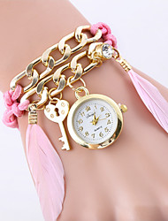 cheap -Women's Necklace Watch Charm Elegant Gold Alloy Chinese Quartz Black White Blushing Pink Water Resistant / Waterproof Three Time Zones Casual Watch 30 m 1 set Analog One Year Battery Life