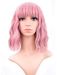 cheap -Synthetic Wig Curly Loose Curl Halloween Bob Neat Bang Wig Pink Short Pink Synthetic Hair 12 inch Women's Best Quality Pink