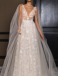 cheap -A-Line V Neck Floor Length Polyester Sleeveless Formal / Boho Plus Size Wedding Dresses with Draping 2020