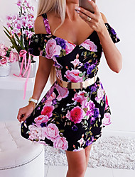 cheap -Women's Sheath Dress - Floral Black White S M L XL