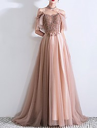 cheap -A-Line Sparkle Pink Prom Formal Evening Dress Off Shoulder Short Sleeve Sweep / Brush Train Tulle with Beading Sequin 2020