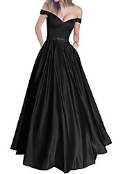 cheap -A-Line Off Shoulder Floor Length Polyester Short Sleeve Formal Plus Size / Black Wedding Dresses with Draping 2020