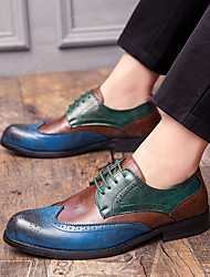 cheap -Men's PU Spring & Summer / Fall & Winter Business / Casual Oxfords Walking Shoes Breathable Gradient Brown / Red / Blue / Wedding / Party & Evening