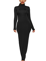 cheap -Women's Sheath Dress - Solid Color Maxi Black Wine Yellow S M L XL