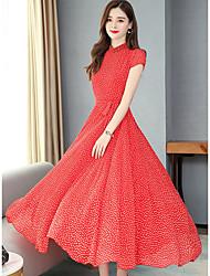 cheap -Women's A Line Dress - Polka Maxi Dot Blue Red S M L XL