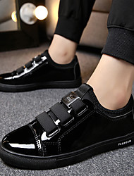 cheap -Men's Comfort Shoes Leather Spring & Summer / Fall & Winter Preppy Sneakers Walking Shoes Breathable Black / Black / White