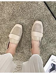 cheap -Women's Flats Flat Heel Round Toe PU Summer Black / Beige