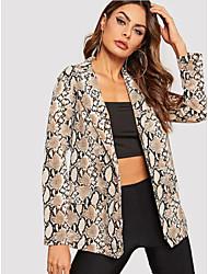 cheap -Women's Daily Regular Jacket, Geometric Notch Lapel Long Sleeve Polyester Brown