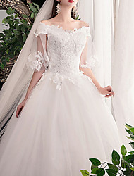 cheap -Ball Gown Wedding Dresses Off Shoulder Sweep / Brush Train Lace Short Sleeve Formal See-Through Plus Size with Lace Insert Appliques 2020