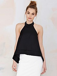 cheap -Women's Solid Colored Skinny Blouse Daily Halter Neck White / Black