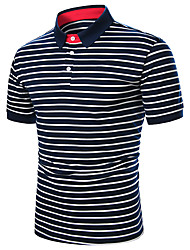 cheap -Men's Daily Work Basic Polo - Striped / Solid Colored Black & White, Patchwork White